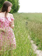 A red shawl and green beautiful nature make virgin teens appearance so amazing�